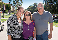 Miranda Jetter '18 and her parents Robert and Jane. Students and parents enjoy the Occidental College campus during Homecoming on Oct. 24, 2014. (Photo by Marc Campos, Occidental College Photographer)