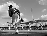 (Ft. Myers, FL, 03/03/15) Members of the Boston Red Sox take the field against Boston College wearing the number of Pete Frates during a Major League Baseball spring training exhibition game at JetBlue Park in Ft. Myers, Florida on Tuesday, March 03, 2015. Photo by Christopher Evans