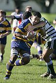 Alosoni is tackled by Manurewa flanker V. RoightCounties Manukau Premier Club Rugby, Patumahoe vs Manurewa played at Patumahoe on Saturday 6th May 2006. Patumahoe won 20 - 5.