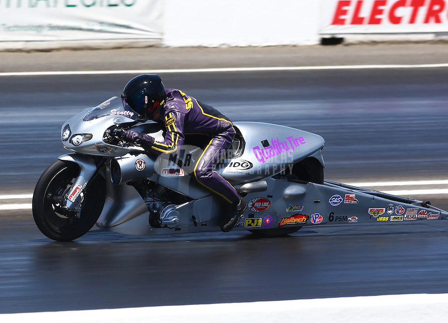 Jun. 1, 2014; Englishtown, NJ, USA; NHRA pro stock motorcycle rider Scotty Pollacheck during the Summernationals at Raceway Park. Mandatory Credit: Mark J. Rebilas-