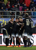 Calcio, Serie A: Frosinone vs Juventus. Frosinone, stadio Comunale, 7 febbraio 2016.<br /> Juventus&rsquo; Paulo Dybala, center, celebrates with teammates after scoring after scoring during the Italian Serie A football match between Frosinone and Juventus at Frosinone's Comunale stadium, 7 January 2016.<br /> UPDATE IMAGES PRESS/Isabella Bonotto