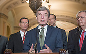 United States Senator Roy Blunt (Republican of Missouri) makes remarks following the Republican Party policy luncheon in the US Capitol in Washington, DC on Tuesday, January 23, 2018.  Pictured from left to right: US Senator John Barrasso (Republican of Wyoming), US Senator Blunt, US Senator John Thune (Republican of South Dakota), and US Senate Majority Leader Mitch McConnell (Republican of Kentucky).<br /> Credit: Ron Sachs / CNP