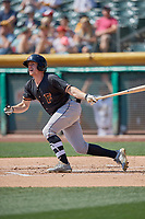 Drew Ferguson (8) of the Fresno Grizzlies follows through on a swing during a game against the Salt Lake Bees at Smith's Ballpark on September 3, 2018 in Salt Lake City, Utah. The Grizzlies defeated the Bees 7-6. (Stephen Smith/Four Seam Images)