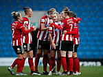 Katie Wilkinson celebrates her goal and disappears under her team mates during the The FA Women's Championship match at the Proact Stadium, Chesterfield. Picture date: 8th December 2019. Picture credit should read: Simon Bellis/Sportimage