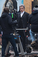 Peter Capaldi is spotted as Doctor Who films on Mount Stuart Square in Cardiff Bay, Wales, UK. Sunday 05 February 2017