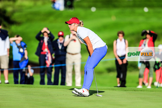 Bailey Tardy on the 16th during the Saturday afternoon fourballs at the 2016 Curtis cup from Dun Laoghaire Golf Club, Ballyman Rd, Enniskerry, Co. Wicklow, Ireland. 11/06/2016.<br /> Picture Fran Caffrey / Golffile.ie<br /> <br /> All photo usage must carry mandatory copyright credit (&copy; Golffile | Fran Caffrey)