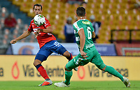 MEDELLÍN - COLOMBIA, 29-01-2019: Andres Ricaute del Medellín disputa el balón con Pablo Lima de Equidad durante partido por la fecha 2 Final entre Deportivo Independiente Medellín y La Equidad como parte de la Liga Águila I 2019 jugado en el estadio Atanasio Girardot de la ciudad de Medellín. / Andres Ricaute of Medellin vies for the ball with Pablo Lima of Equidad during atch for the date 2 between Deportivo Independiente Medellin and La Equidad as a part Aguila League I 2019 played at Atanasio Girardot stadium in Medellin city. Photo: VizzorImage / Leon Monsalve / Cont