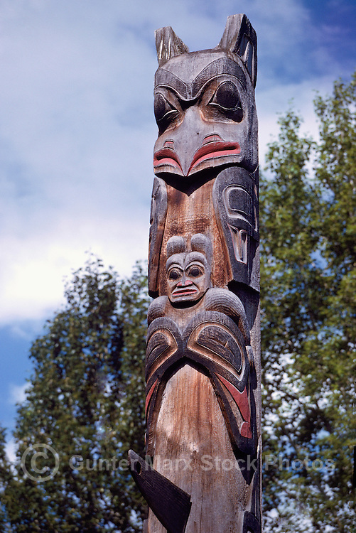 Gitxsan (Gitksan aka Tsimshian) Totem Pole, Ksan Historical Village and Museum in Hazelton, Northern BC, British Columbia, Canada - Eagle sits atop Whale