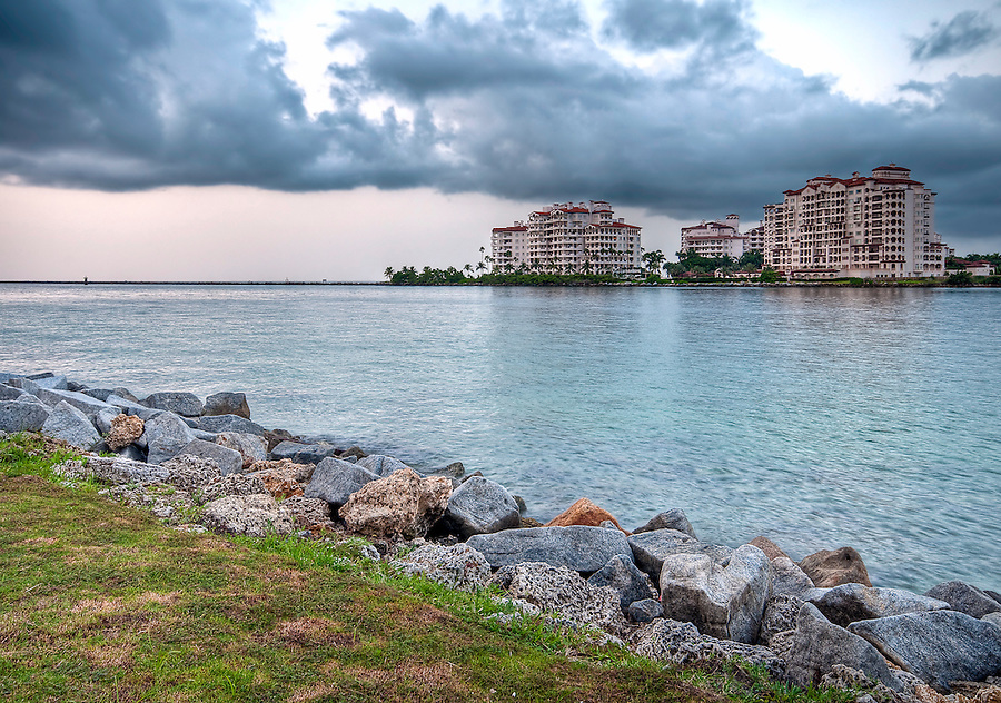 View of apartments in Fisher Island, a very exclusive enclave in Miami Beach.