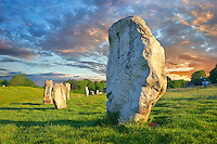 Avebury Neolithic standing stone Circle the largest in England at sunset, Wiltshire, England, Europe
