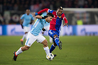 Manchester City's Sergio Aguero holds off the challenge from Basel's Serey Die <br /> <br /> Photographer Craig Mercer/CameraSport<br /> <br /> UEFA Champions League Round of 16 First Leg - Basel v Manchester City - Tuesday 13th February 2018 - St Jakob-Park - Basel<br />  <br /> World Copyright &copy; 2018 CameraSport. All rights reserved. 43 Linden Ave. Countesthorpe. Leicester. England. LE8 5PG - Tel: +44 (0) 116 277 4147 - admin@camerasport.com - www.camerasport.com