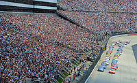 Jun 1, 2008; Dover, DE, USA; NASCAR Sprint Cup Series drivers Greg Biffle (16) and Kurt Busch (2) lead the field at the green flag during the Best Buy 400 at the Dover International Speedway. Mandatory Credit: Mark J. Rebilas-US PRESSWIRE
