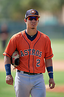 GCL Astros Alfredo Angarita (2) during a Gulf Coast League game against the GCL Marlins on August 8, 2019 at the Roger Dean Chevrolet Stadium Complex in Jupiter, Florida.  GCL Astros defeated GCL Marlins 4-2.  (Mike Janes/Four Seam Images)