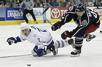 20 October 2006: Columbus Blue Jackets' Jaroslav Balastik, right, plays against Toronto Maple Leafs' Ian White at Nationwide Arena in Columbus, Ohio.<br />