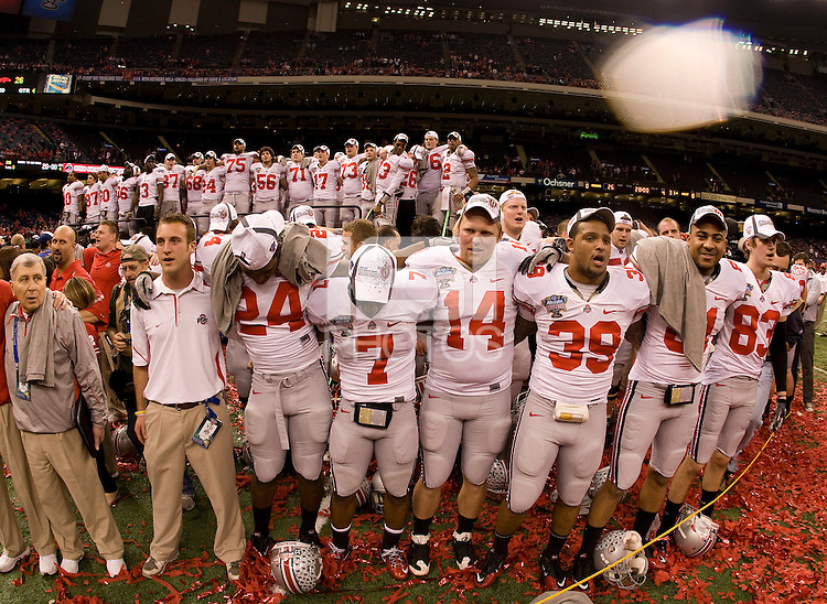 Ohio State football players huddle together to sing Ohio State song after winning the game against Arkansas during 77th Annual Allstate Sugar Bowl Classic at Louisiana Superdome in New Orleans, Louisiana on January 4th, 2011.  Ohio State defeated Arkansas, 31-26.