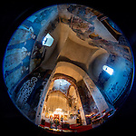Interior of the Church of the Ascension of Jesus Christ at the Monastery Mileševa, Serbia originally built in the 13th century. Fisheye view.