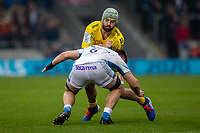 24th November 2019; AJ Bell Stadium, Salford, Lancashire, England; European Champions Cup Rugby, Sale Sharks versus La Rochelle; Kevin Gourdon of La Rochelle is tackled by Ben Curry of Sale Sharks - Editorial Use