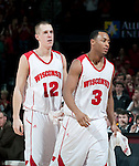March 3, 2010: Wisconsin Badgers seniors Jason Bohannon (12) and Trevon Hughes (3) leave the Kohl Center for the last time during a Big Ten Conference NCAA basketball game against the Iowa Hawkeyes at the Kohl Center on March 3, 2010 in Madison, Wisconsin. The Badgers won 67-40. (Photo by David Stluka)