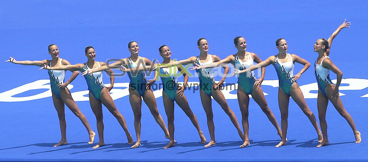 Pix: Matthew Lewis/SWpix.com. Synchronised Swimming. 10th Fina World Championships 2003, Barcelona. 14/07/2003...COPYRIGHT PICTURE>>SIMON WILKINSON>>01943 436649>>..The French team during thier routine in the Technical competition of the Synchronised swimming..