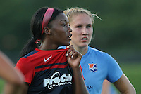 Piscataway, NJ - Saturday July 23, 2016: Cheyna Williams, Kristin Grubka during a regular season National Women's Soccer League (NWSL) match between Sky Blue FC and the Washington Spirit at Yurcak Field.