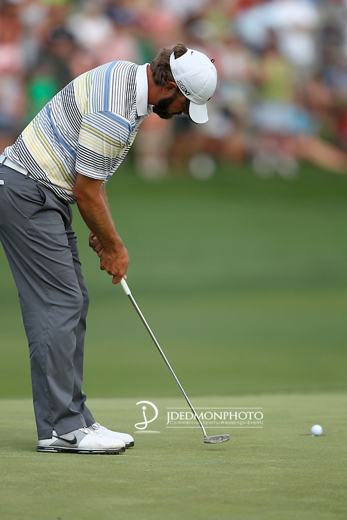 May 8,2011 - Lucas Glover watches as his putt makes its way to the win.  Lucas Glover wins the tournament in sudden death over Jonathan Byrd at Quail Hollow Country Club,Charlotte,NC.