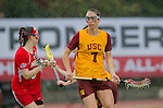 Los Angeles, CA 02/28/14 - Amanda Johansen (USC #7) in action during the Marist Red Foxes vs University of Southern California Trojans NCAA Women's lacrosse game at Loker Track Stadium on the USC Campus.  Marist defeated USC 12-10.