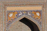 Uzbekistan, Samarqand.<br /> Registan ensemble. Sher Dor (Lion) Medressa.