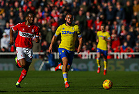Leeds United's Kemar Roofe gets away from Middlesbrough's John Obi Mikel<br /> <br /> Photographer Alex Dodd/CameraSport<br /> <br /> The EFL Sky Bet Championship - Middlesbrough v Leeds United - Saturday 9th February 2019 - Riverside Stadium - Middlesbrough<br /> <br /> World Copyright © 2019 CameraSport. All rights reserved. 43 Linden Ave. Countesthorpe. Leicester. England. LE8 5PG - Tel: +44 (0) 116 277 4147 - admin@camerasport.com - www.camerasport.com