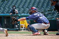 Frisco RoughRiders Alex Kowalczyk (27) during a Texas League game against the Midland RockHounds on May 21, 2019 at Dr Pepper Ballpark in Frisco, Texas.  (Mike Augustin/Four Seam Images)