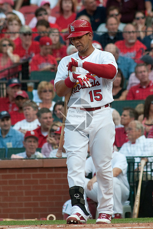 31 May 2011            St. Louis Cardinals right fielder Jon Jay (15) checks his batting gloves before an early at-bat. The St. Louis Cardinals defeated the San Francisco Giants 4-3 on Tuesday May 31, 2011 in the second game of a four-game series at Busch Stadium in downtown St. Louis.