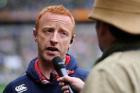 Ben Ryan, England Sevens Head Coach, is interviewed during the iRB Marriott London Sevens at Twickenham on Saturday 11th May 2013 (Photo by Rob Munro)