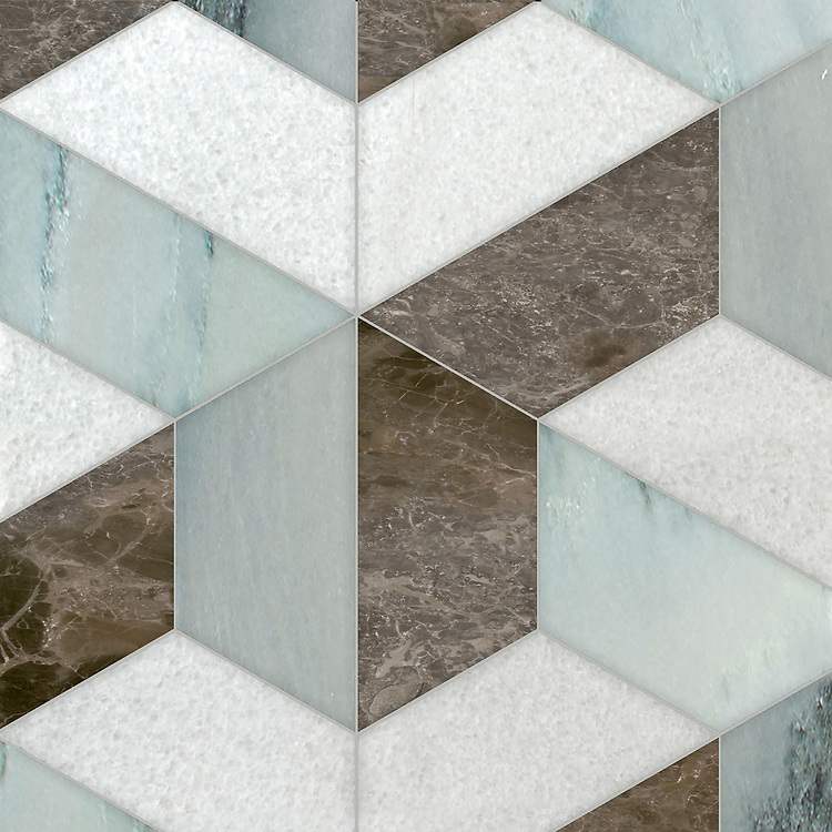Francois Grandiose, a hand-cut stone mosaic, shown in polished Snow White, Kay's Green, and Kehena, is part of the Semplice® collection for New Ravenna.