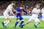 Lionel Andres Messi of FC Barcelona (C) fights for the ball with Federico Fazio of AS Roma (L) and Daniele De Rossi of AS Roma (R) during the UEFA Champions League 2017-18 quarter-finals (1st leg) match between FC Barcelona and AS Roma at Camp Nou on 05 April 2018 in Barcelona, Spain. Photo by Vicens Gimenez / Power Sport Images