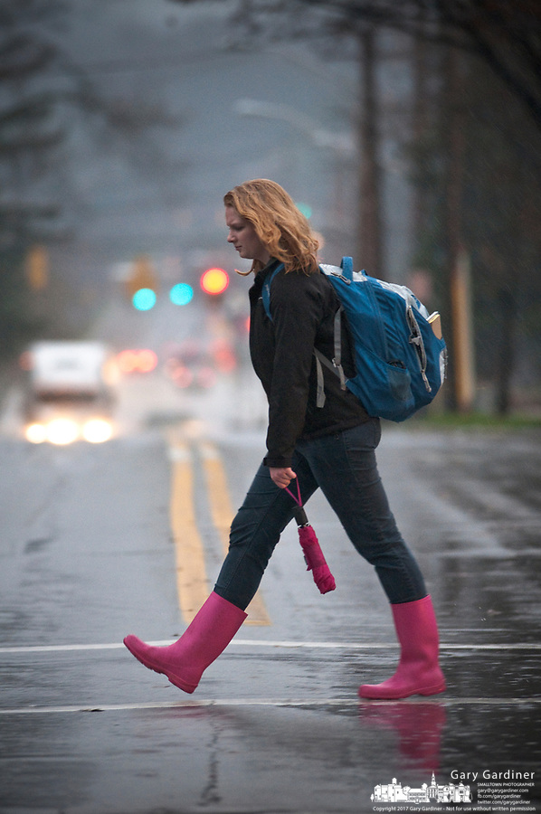 An Otterbein College students walks under an umbrella  in the rain between classes during a fall rain storm.