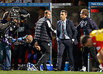 Pedro Caixinha caught in the monent forgets to shake hands with Alan Archibald at full time much to the Partick manager's dismay - Pedro realises then sprints back down the touchline to shake hands and apologise with Alan.