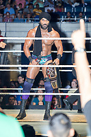 WWE Champion Jinder Mahal holds his Championship belt as he enters the ring before his match against Randy Orton at a WWE Live Summerslam Heatwave Tour event at the MassMutual Center in Springfield, Massachusetts, USA, on Mon., Aug. 14, 2017. Mahal lost the match.