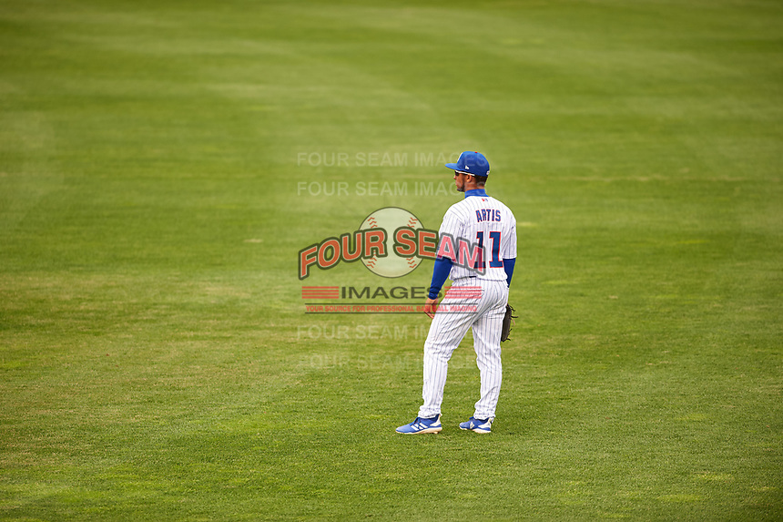 South Bend Cubs center fielder D.J. Artis (11) during a Midwest League game against the Cedar Rapids Kernels at Four Winds Field on May 8, 2019 in South Bend, Indiana. South Bend defeated Cedar Rapids 2-1. (Zachary Lucy/Four Seam Images)