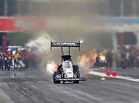 Apr 21, 2018; Baytown, TX, USA; NHRA top fuel driver Leah Pritchett during qualifying for the Springnationals at Royal Purple Raceway. Mandatory Credit: Mark J. Rebilas-USA TODAY Sports