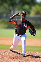 Miami Marlins pitcher Esmerling De La Rosa (61) during a minor league spring training game against the New York Mets on March 30, 2015 at the Roger Dean Complex in Jupiter, Florida.  (Mike Janes/Four Seam Images)