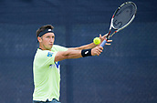 June 13th 2017, Nottingham, England; ATP Aegon Nottingham Open Tennis Tournament day 4;  Sergiy Stakhovsky of Ukraine keeps his eyes on the ball during his game with Akira Santillan of Japan