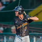 12 July 2015: West Virginia Black Bears outfielder Kevin Kramer, a second round draft pick for the Pittsburgh Pirates organization, stands on deck during a game against the Vermont Lake Monsters at Centennial Field in Burlington, Vermont. The Lake Monsters rallied to defeat the Black Bears 5-4 in NY Penn League action. Mandatory Credit: Ed Wolfstein Photo *** RAW Image File Available ****