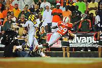Jojo Nicholas of the Hurricanes has a tough time catching the ball. Maryland defeated Miami 32-24 during a game at the Byrd Stadium in College Park, MD on Monday, September 5, 2011. Alan P. Santos/DC Sports Box