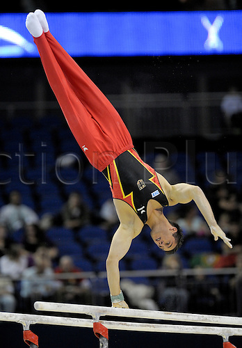 13.10.2009.World Gymnastics Champion ships at the O2 Arena London. Mens Qualifying Competition.Sebastian Krimmer of Germany in action. Photo: Alan Edwards/Actionplus. ..