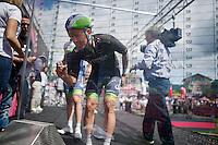Svein Tuft (CAN/Orica-GreenEdge) signing in<br /> <br /> 2014 Giro d'Italia <br /> stage 17: Sarnonico - Vittori Veneto (208km)