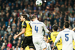 Real Madrid's Sergio Ramos , Borussia Dortmund Sokratis Papastathoppulos during Champions League match between Real Madrid and Borussia Dortmund  at Santiago Bernabeu Stadium in Madrid , Spain. December 07, 2016. (ALTERPHOTOS/Rodrigo Jimenez)