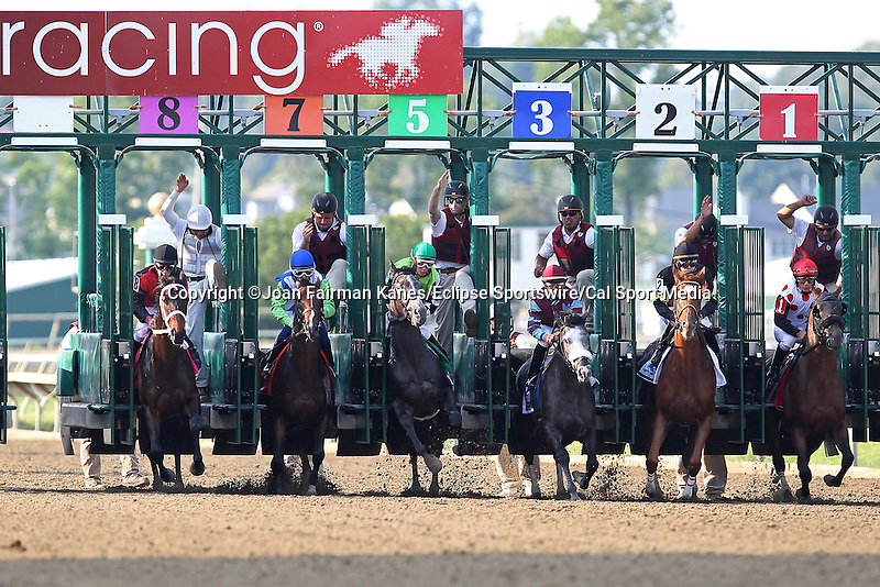 August 29, 2015. Start of the Smarty Jones stakes: Island Town (#2), Brian Hernandez up, wins the Grade III Smarty Jones Stakes, one mile and seventy yards, for three year olds at Parx racing in Bensalem, PA. Trainer is Ian Wilkes. (Joan Fairman Kanes/ESW/CSM)