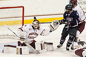Joe Woll (BC - 31), Max Kalter (UConn - 18), Scott Savage (BC - 2) - The Boston College Eagles defeated the visiting UConn Huskies 2-1 on Tuesday, January 24, 2017, at Kelley Rink in Conte Forum in Chestnut Hill, Massachusetts.