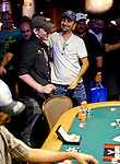 Jason Somerville is congratulated by Daniel Negreanu