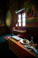 Interior view of Chamba Gompa along the Srinagar to Leh road, Mulbekh, India.