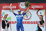 Kasper Asgreen (DEN) Deceuninck-Quick Step wins Stage 3 of the Deutschland Tour 2019, running 189km from Gottingen to Eisenach, Germany. 31st August 2019.<br /> Picture: Mario Stiehl | Cyclefile<br /> All photos usage must carry mandatory copyright credit (© Cyclefile | Mario Stiehl)